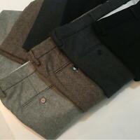 Many Color Mens Wool Tweed Herringbone Trousers British Slim Warm Straight Pants