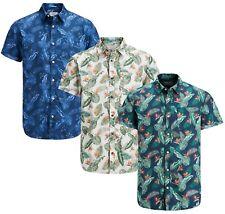 JACK & JONES Paka Floral Short Sleeve Shirt New Men Cotton Slim Fit Smart Shirts