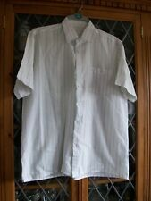 "VINTAGE WHITE GREY TURQUOISE STRIPE SS SHIRT 40-42"" CHEST **GC**"
