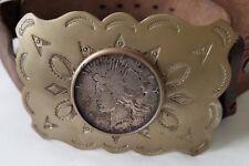 1922 Silver Liberty Peace Dollar Mounted in Nickel Silver Belt Buckle w/ Belt