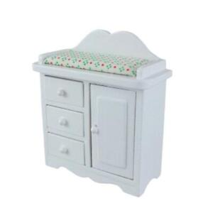 Dolls House Miniature Nursery Furniture White Baby Changing Table