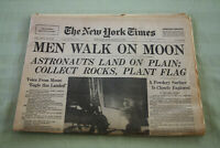 Orig NY Times Apollo 11 Moonwalk newspaper