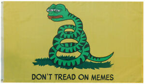Don't Tread on Memes (Pepe) Green Snake 100D Woven Poly Nylon 3x5 3'x5' Flag
