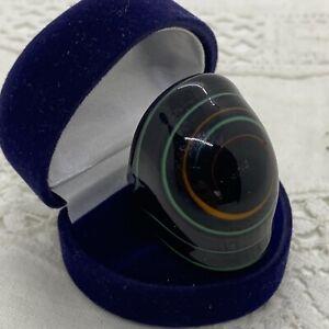MURANO Glass Statement Ring Size Q.5 Black Green Swirl Chunky Large Italy Retro