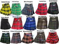 Ladies Womens Tartan Pleated Billie Kilt Skirt Leather Buckled Straps
