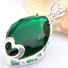 Love Heart Silver Horse Eye Emerald Topaz Silver Necklace Pendants