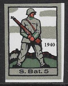 Switzerland Soldier stamp: Infantry, INF #47 IMPERF Sleeve Var: S.Bat.5 - sw500a