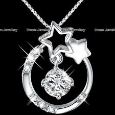 Christmas Presents for Her Silver Jewellery Crystal Diamond Necklace Star US1