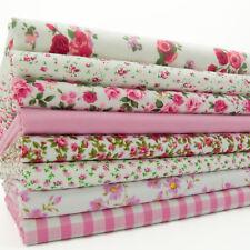 Fat Quarter Bundle Tessuto Rosa Vintage Floreale Quadretti in Policotone Craft Materiale