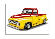 FORD 55' F100 PICK UP TRUCK UTE LIMITED EDITION CAR DRAWING PRINT  5 CAR COLOURS