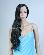 Womens Fashion Curly Wavy Long Wigs Cosplay Party Full Hair Wig  Natural Black