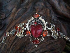 Sterling Silver Artisan Indonesian God Goddess Rhinestone Statement Bracelet