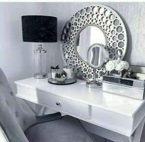 63cm LARGE SILVER Round Holed Wall Mirror Bath Moroccan Style Home Decor New