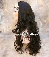 Extra Long  Dark Brown 3/4 Wig Fall Long Curly  layered half wig Hair Piece #4