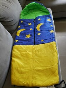 Travel Sleeping Bag for Kids Star and moon shining blue, yellow, lime green
