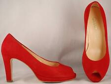 Women's Gabor Red Suede Open Toe Heels US 7