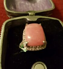 Argentinian Rhodochrosite Cush Ring in Sterling Silver -Size 6