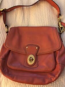 vintage coach bag leather, salmon with brass clasp