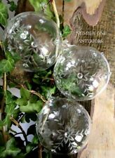 GISELA GRAHAM Christmas etched clear glass baubles set of 3, LAST FEW!