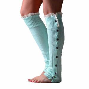 Women Knitted Leg Warmers Stocking Winter Warm Long High Knee Crochet Boot Socks
