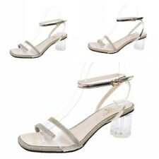 Womens Ladies Open Toe Ankle Strap Buckle Sandals Clear Block Mid Heel Shoes L