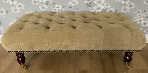 Footstool Stool In Laura Ashley Orla Chenille Gold Fabric