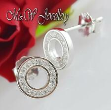 925 Sterling Silver Rhodium Plated Stud Earrings ROUND With Clear Zirconia