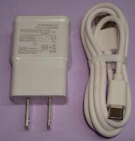 White AC Charger & Type-C Cable for Verizon Motorola Moto E4