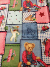 Springs Industries Blue Jean Teddy And Friends Patch Fabric 29 x 45 Quilting