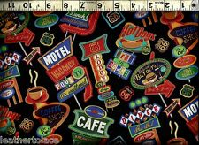 Timeless Treasures ~ Route 66 Diner Motel Signs ~ 100% Cotton Quilt Fabric BTY