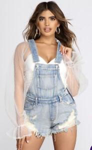 Windsor Denim Doll Distressed Overall Shorts NWT Women's Size Medium