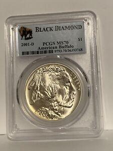 2001-D Buffalo  Silver Commemorative Dollar MS70 PCGS  BLACK Diamond