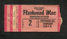 Original 1977 Fleetwood Mac concert ticket stub Birmingham AL Rumours Tour