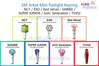 Official SM Mini Fanlight Keyring NCT EXO Red Velvet SHINEE Super Junior GG TVXQ