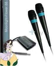 2 X Sony Sing Star Mikrofone Microfon Micro BLAU + USB Adapter PS 2 + 3 + 4