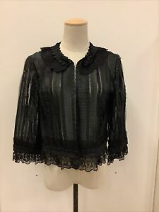 OSCAR de la RENTA Black Nylon/Poly Sheer & Lace Shrug Bolero Jacket Size 12 NWT