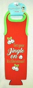 U PICK Wine Bag Bottle Holder Christmas Neoprene Tote Red Holiday Carrier Sleeve