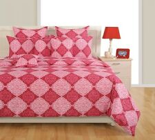 Swayam Pink and Magenta Colour Ethnic Print Fitted Double Bed Sheet