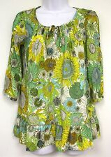Liberty of London Target Susanna Print Top Size XS Floral Yellow Green Blue New