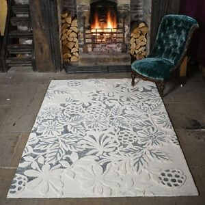 Textures Loxley White Grey Modern Handmade Sculptured Wool Rugs 120x170cm