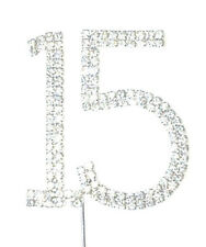 Rhinestone Number 15 Silver Crystal Quinceanera Birthday Cake Cupcake Topper