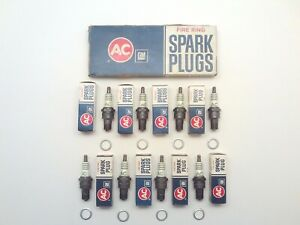 NOS GM 5612630 AC 46N FIRE RING SPARK PLUGS SET OF 8 CHEVROLET IMPALA BEL AIR