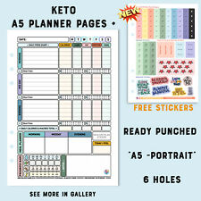 Food Diary A5 Filofax Inserts Keto Pages Compatible free Stickers& Countdown-K