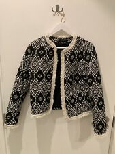 Primark Atmosphere Black White Aztec Quilted Jacket Size 10
