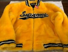 SUPREME FAUX FUR VARSITY JACKET GOLD LARGE SS20 AUTHENTIC (IN HAND) BRAND NEW**