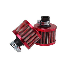 2x 12mm Universal Crankcase Valve  Vent Red Air Intake Filter Breathable+Clamp