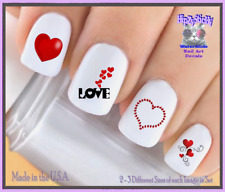 24 Nail Decals #7606 VALENTINES Red Heart LOVE WaterSlide Nail Art Transfers