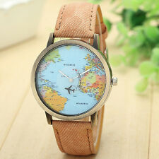 New Global Travel By Plane Map Women Dress Watch Denim Fabric Band Watch Hot