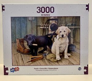 """SURE LOX 3000 PC. ART GALLERY Black&Yellow Lab Pups Puzzle 42.25"""" X 32.25"""" NEW!!"""