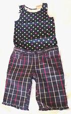 crazy 8 Plaid Short Dot Tank Cotton Navy Blue Outfit Sz 12 L NWT